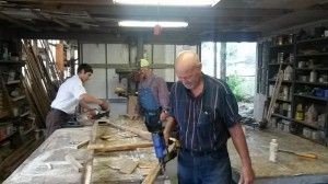 Brothers working at Woodshop